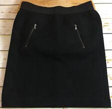 Ann Taylor Women Black Zipped Gartered Waist Front Pockets Career Skirt Size 2