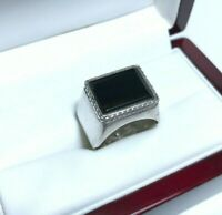 Soviet Mens Ring Silver Size 9 USSR Weight 8.48g Stone Onix Signet