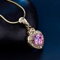 Grace Lady Heart Pink Swarovski Crystal Pendant 18k Gold Filled Chain Necklaces