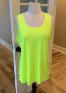 Athletic Tank Performance Top Neon Yellow Womens Large Running
