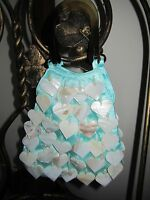 Turquoise evening hand bag with mother of pearl hearts