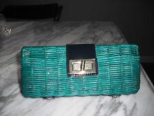 J crew Havana wicker clutch hand bag purse w/patent leather trim heritage green