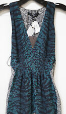NWT $1495 Neiman Marcus Gucci Teal Silk Belted Sleeveless Blouse sz 38/2 FS