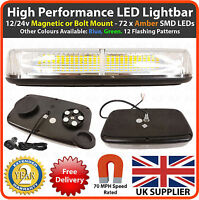 Amber LED 12/24v Light bar Magnetic Flashing Beacon Recovery Van Light Strobe
