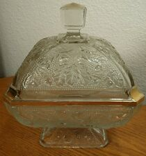 Jeannette Glass Acorn & Oak Leaf Footed Wedding Box/Candy Dish & Lid W/Gold Trim