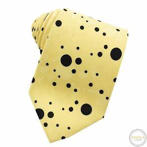 NWOT Stefano Ricci X de Lisi Daffodil Black 100% Silk Polka Dot Jacquard Tie