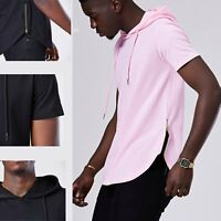 Men's Hipster Short Sleeve Hip Hop Hoodie Cure Hem Tshirt Side Zipper Tops New