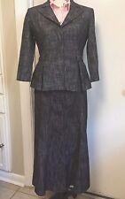 LARRY LEVINE Stretch  Skirt Suit Blazer Black Flared Lined Sz Small 8