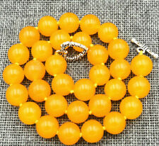 "12mm Natural yellow jade Gemstone Necklace 18 ""Tibetan silver clasps"