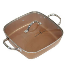 """Copper Chef 11"""" Square Pan With Lid"""