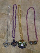 Lot of 4 Mardi Gras Beads Fleur De Lis/ Masks