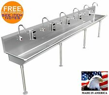 """6 Multi Station 144"""" Wash Up Hand Sink Elec Faucet Hands Free (2) 2"""" Npt Drains"""