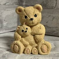 Bear Holding Baby Bear Figurine Resin Tan