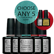 QUTIQUE Gel Nail Polish Pack/Kit/Set-ANY 5 Colours inc Base & Top -Salon Quality