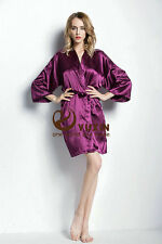Women Silk Satin Bathrobe Bridal Wedding Bride Bridesmaid Kimono Gown Robes New