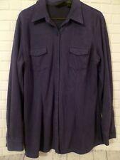 Womens L New York & Co Navy Blue Microfiber Long Sleeved Shirt Great feel!
