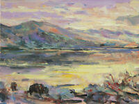 Art Original Oil Painting RM Mortensen Landscape Mountains Sunset West Buffalo
