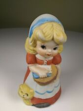 Vintage Jasco Hand Painted Bisque Pocelain Bell - Girl with Basket and Cat