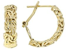 """1"""" Byzantine Hoop Earrings with Omega Back 18K Yellow Gold Clad Sterling Silver"""