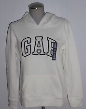 NWT GAP WOMENS LONG SLEEVED WHITE HOODIE PULLOVER SWEATSHIRT W/ GAP LOGO SZE MED