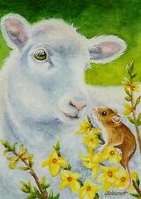 ACEO Limited Edition Print Spring Mouse Lamb Forsythia Flowers by J. Weiner