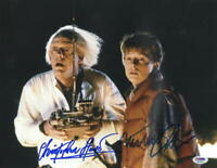 MICHAEL J FOX CHRISTOPHER LLOYD SIGNED BACK TO THE FUTURE 11X14 PHOTO PSA LOA H
