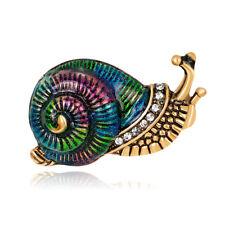 Lady Multicolor Cartoon Snail Shiny Rhinestone Enamel Brooch Pin Jewelry Flowery