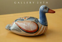 WOW! LARGE MID CENTURY PAINTED POTTERY DUCK SCULPTURE! 1950S MEXICO ORIG ART VTG