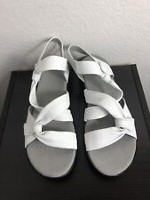 Clarks Leather Lightweight Adjustable Sandals Saylie Moon White 8.5M NEW A306037