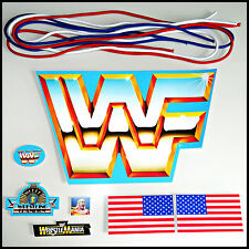 ♛ HQ PRE CUT WWF HASBRO BLUE REPLACEMENT STICKERS + RING ROPES WWE RETRO DECAL ♛