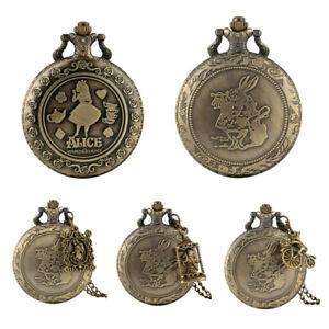 Vintage Anime Alice In Wonderland/Rabbit Pocket Watch Necklace For Women Men