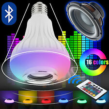 12W E27 LED RGB Bluetooth Speaker Bulb Light Music Playing Lamp Remote Control