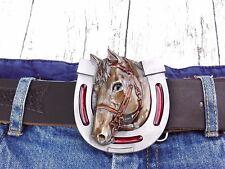 Gürtelschnalle Pferd Pferdkopf im Hufeisen Pferdesport Wechselschnalle Buckle