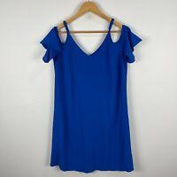 Crossroads Womens Dress 8 Blue Off Shoulder Short Sleeve V-Neck
