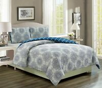Kaylin Grape/Navy Reversible Comforter Set
