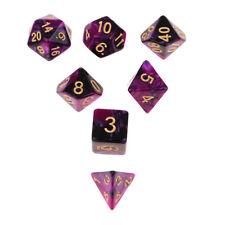 7X Two Color Dice Die d20 d12 d10 d8 d6 d4 for RPG Roleplay Toy Purple Black