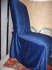 CLASSIC SLIPCOVERS NAVY BLUE VELVET VELOUR (4) DINING CHAIR PARSONS COVERS