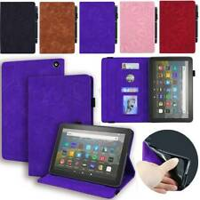 """For Amazon Fire HD 8 Plus10th Gen 2020 8"""" Tablet Leather Stand Wallet Case Cover"""
