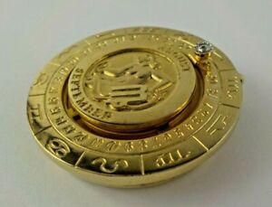 Vintage Pierre Cardin Money Clip Virgo Sign Zodiac Gold Tone Diamond Collectible