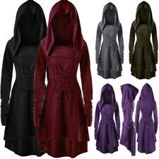 Women Retro Victorian Lace Up Thumb Hole Hooded Coat Gothic Jacket Costume Dress