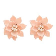New Korean Style alloy Big Acrylic Pearl Beads Flower Stud Earrings Jewelry