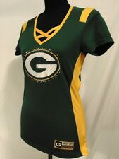 Green Bay Packers NFL Womans Shirt Top Size S Majestic Fan Fashion Sparkle Green