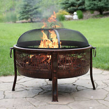 **Sunnydaze Northwoods Fishing Fire Pit, 30 Inch Diameter, with Spark Screen