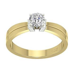 Solitaire Anniversary Natural Diamond Ring Set SI1 G 0.35 Carat 14K Yellow Gold
