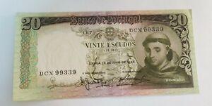 PORTUGAL 20 ESCUDO BANKNOTE 1964