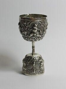 Large Indian solid silver repoussé double jig shot measure jigger cocktail 1900