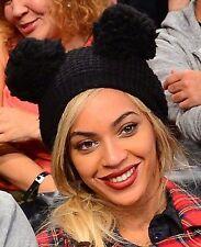 Celebrity Mouse Ears Beyonce 2 Pom Pom Black Beanie Womens NEW