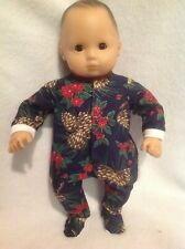 Bitty Baby pine cones Christmas pj sleeper pajamas 15 girl/boy doll clothes fit