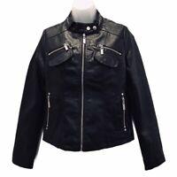 Joujou Womens Motorcycle Biker Jacket Black Zip Up Sleeve Pockets Lined Sz S New
