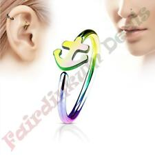316L Surgical Steel Rainbow Ion Plated Nose & Ear Cartilage Ring with Anchor
